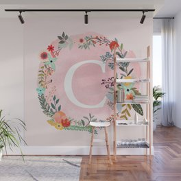 Flower Wreath with Personalized Monogram Initial Letter C on Pink Watercolor Paper Texture Artwork Wall Mural
