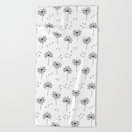 Dandelions in Black Beach Towel