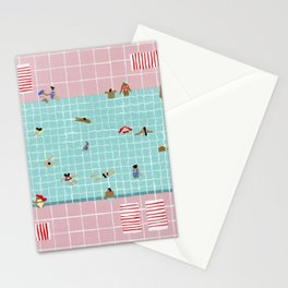 Pink Tiles Stationery Cards