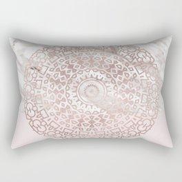 Rose gold mandala - blush pink & marble Rectangular Pillow