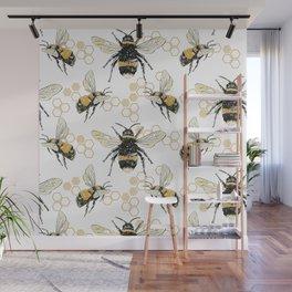Bees an Honeycombs Wall Mural