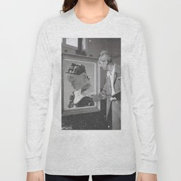 Vintage Painter and His Robot Long Sleeve T-shirt
