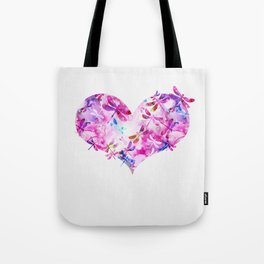Dragonfly Heart- Pink and Blue Tote Bag