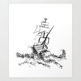 Sailing on an ocean of words Art Print