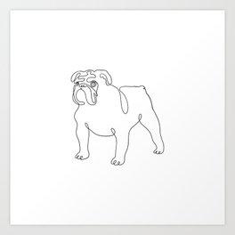 One Line English Bulldog Minimal Art Print