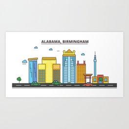 Alabama - Birmingham. Silhouette Skyline Art Print