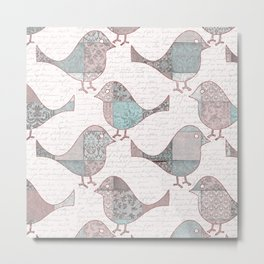 Vintage  Patchwork Birds handwriting pastel pattern Metal Print