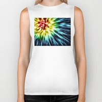 tie dye Biker Tanks featuring Abstract Dark Tie Dye by Phil Perkins