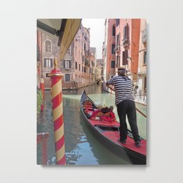 On the Canals in Venice Italy watching the Gondoliers Metal Print