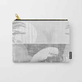 Tropical Black and White Vintage Whale Design Carry-All Pouch