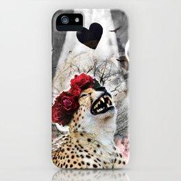 Goth Cheetah With Flower Crown Head Piece iPhone Case