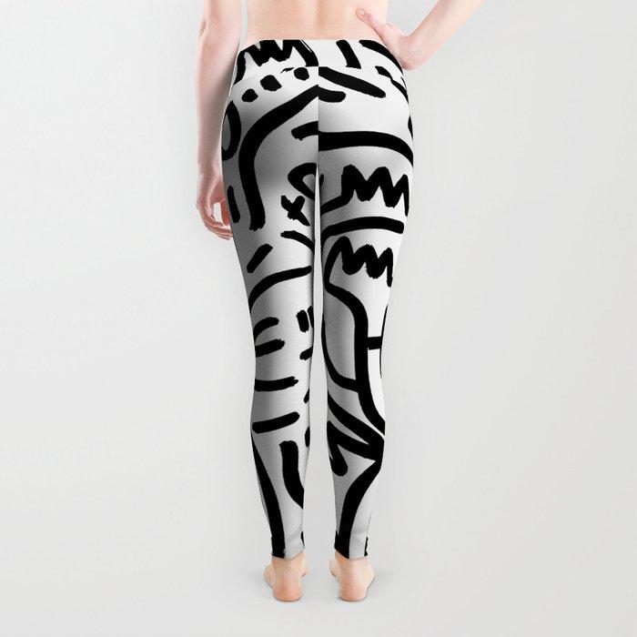 Graffiti Street Art Black and White Leggings