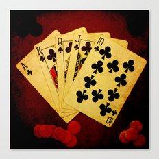 Escalera Real de Trebol (Dirty Poker) Canvas Print
