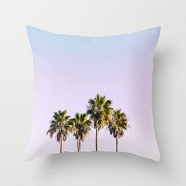 Pastel Sky Palm Trees Throw Pillow