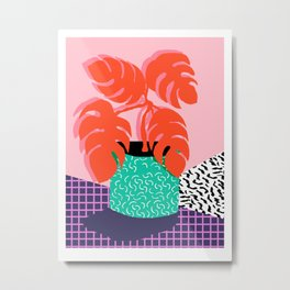 Mung - throwback retro 80s style neon art print pink hipster decor trendy grid urban brooklyn house  Metal Print