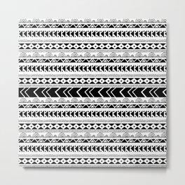 Geometrical tribal black white shapes pattern Metal Print