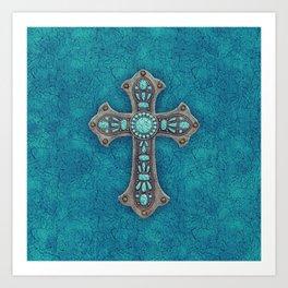 Turquoise Rustic Cross Art Print