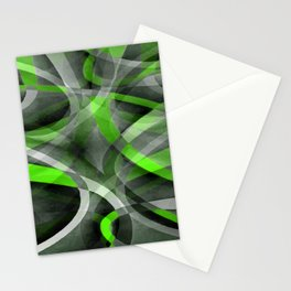 Eighties Vibes Lime and Grey Layered Curve Pattern Stationery Cards