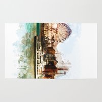 finland Area & Throw Rugs featuring Helsinki city panorame, Finland by jbjart