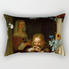 "Frans van Mieris the Elder ""Boy Blowing Bubbles"" Rectangular Pillow"