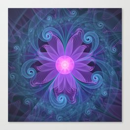Blown Glass Flower of an ElectricBlue Fractal Iris Canvas Print