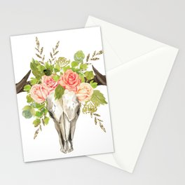 Bohemian bull skull and antlers with flowers Stationery Cards