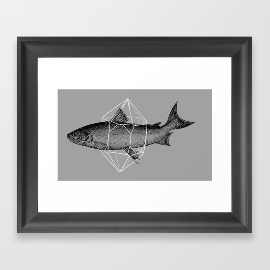 Fish In Geometrics Framed Art Print