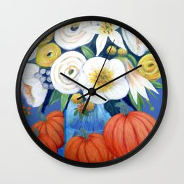 Thanksgiving Pumpkin Floral painted in Acrylic Wall Clock