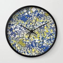 Yellow Blue Grey Wall Clock