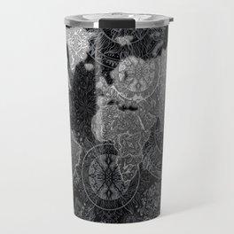 world map mandala black and white 3 Travel Mug