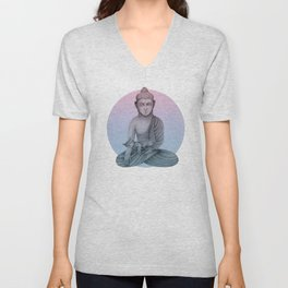Buddha with cat1 Unisex V-Neck