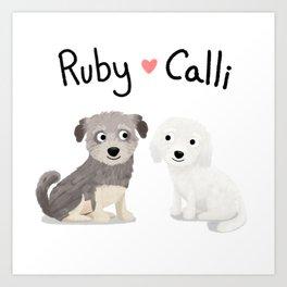 """Custom Dog Art """"Ruby and Calli"""" Art Print"""