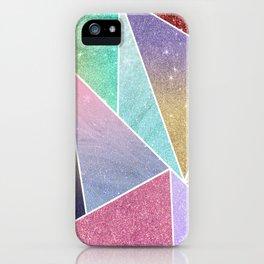 Modern elegant geometrical pink lilac gold glitter pattern iPhone Case