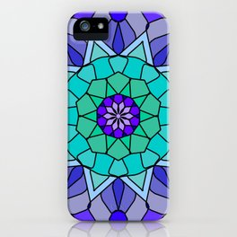 Flower power mandala in bold colors iPhone Case
