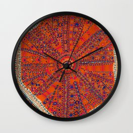 Orange Wildflower Sunshine II // 18th Century Colorful Rusty Red Bright Blue Metallic Happy Pattern Wall Clock