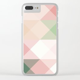 Modern blush tones pink abstract geometrical triangles Clear iPhone Case