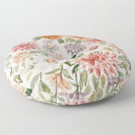 Loose Pastel Dahlia Watercolor Bouquet Floor Pillow