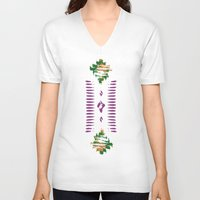 ikat V-neck T-shirts featuring ikat inspiration by Katya Zorin
