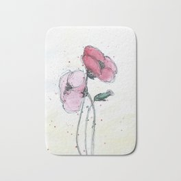 Poppies painting watercolor and black ink illustration Bath Mat