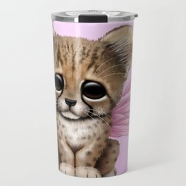 Cute Baby Cheetah Cub with Fairy Wings on Pink Travel Mug