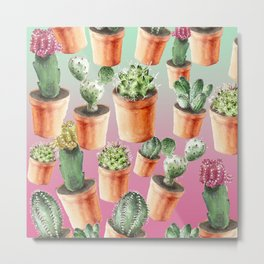 Cactus sunset terra cotta pots Metal Print