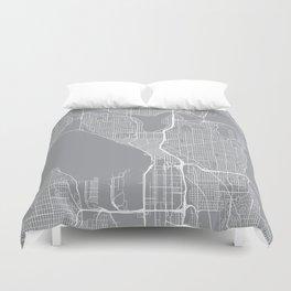 Seattle Map, Washington USA - Pewter Duvet Cover
