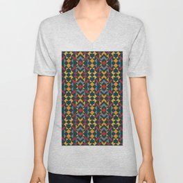 Tribal Triangles Quilt - vivid colours on blue background. Warm colours red and yellow tones Unisex V-Neck