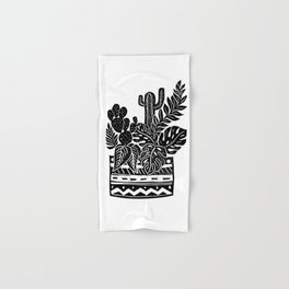 Botanical Pot Block Print Hand & Bath Towel