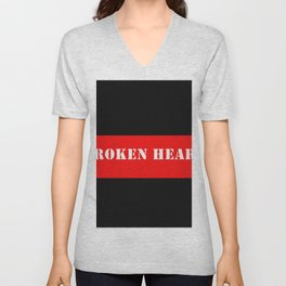 BROKEN HEART DESIGN IN RED AND BLACK Unisex V-Neck