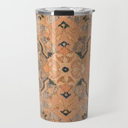 Persian Motif IV // 17th Century Ornate Rose Gold Silver Royal Blue Yellow Flowery Accent Rug Patter Travel Mug