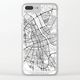 Warszawa Map White Clear iPhone Case