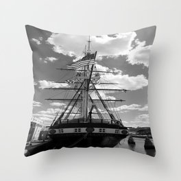 Baltimore Harbor - USS Constellation Throw Pillow
