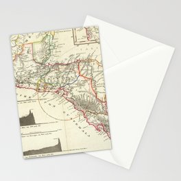 Vintage Map of Central America (1840) Stationery Cards