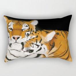 Tiger cub and mom (cheek-bump) Rectangular Pillow